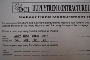The caliper can be used to determine how far the hand contracture prevents the hand being placed flat against a tabletop.  This informiaton is useful to know if and when to change Dupuytren treatment if progress is not being noted.