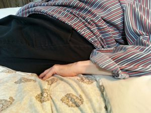 This stretch is used while trying to fall asleep. Stretch Dupuytren's contracture this way while resting on the couch, also.